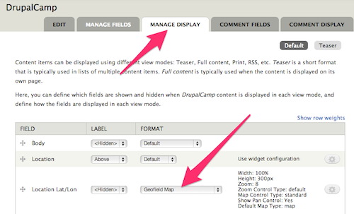 DrupalCamp content type Manage Display settings